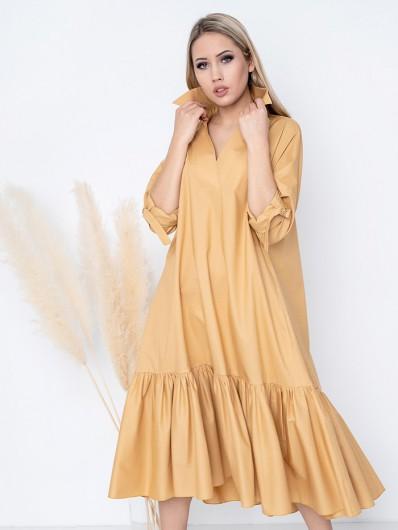 Bawełniana sukienka w kształcie litery A, tuszuje biodra, brzuch i uda z falbaną Bee Collection Yara