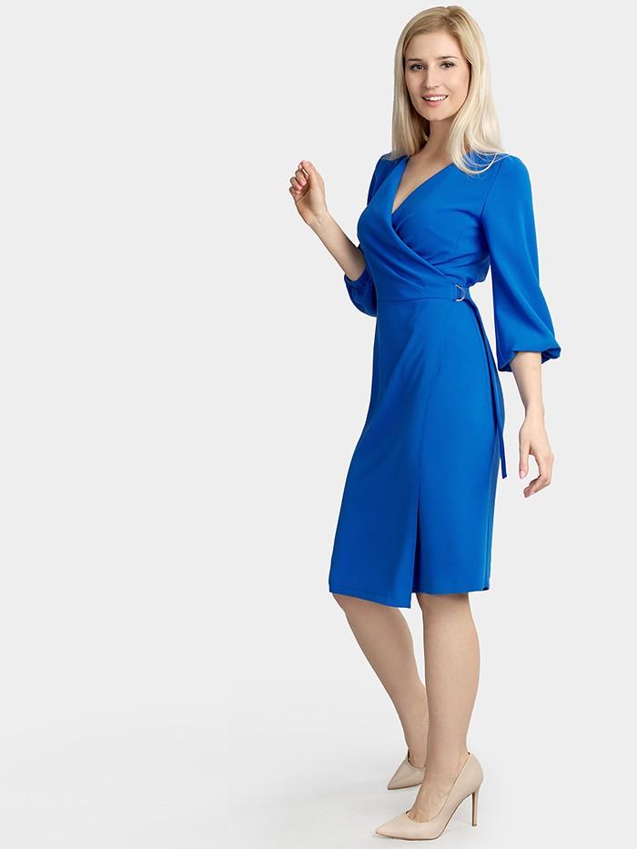 Elegancka zakładana sukienka kobaltowa Bee Collection Pinia