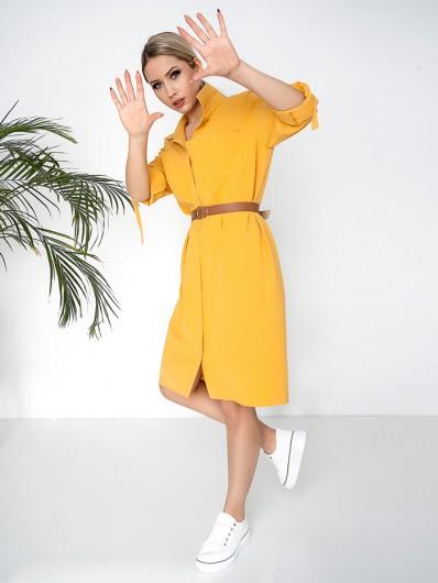 Minimalistyczna żółta sukienka midi z rękawem do podkasania, rozpinana Bee Collection Hortess