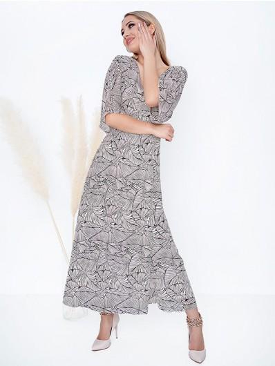Długa rozkloszowana sukienka w kolorze beżowo ecru z geometrycznym drukiem w liście Bee Collection Mirabella