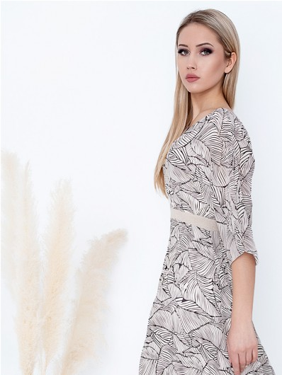 Sukienka koktajlowa, długa z rękawem i dekoltem w szpic, asymetryczny dół Bee Collection Mirabella