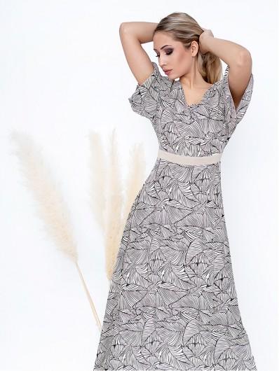 Długa sukienka na przyjęcie weselne, komunię, wyjazdy wakacyjne w modny nadruk jasnego beżu Bee Collection Mirabella