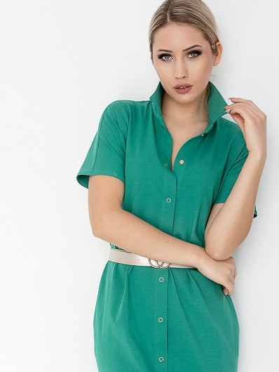Zielona sukienka szmizjerka na lato, bawełniana z rękawem i do kolan Bee Collection Abba