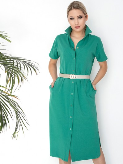 Sukienka codzienna, do pracy , na wakacje, wygodna sukienka z bawełny, zielona z krótkim rękawem Bee Collection Abba