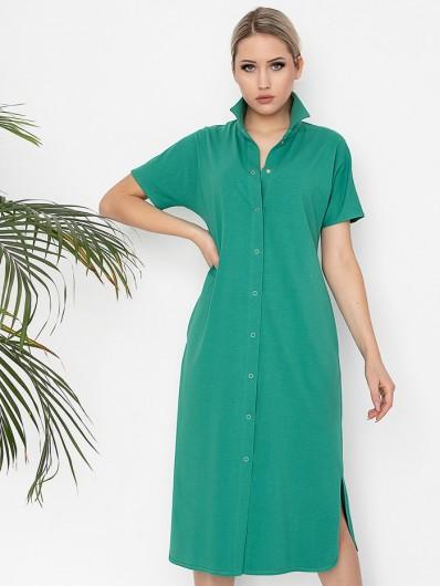 Klasyczna, minimalistyczna sukienka szmizjerka w zielonym kolorze, bawełniana, codzienna, wielofunkcyjna Bee Collection Abba