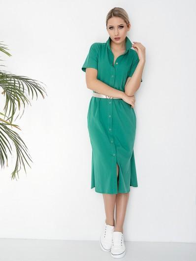 Zielona sukienka z bawełny, wygodna, klasyczna na co dzień, do biura, na spotkania towarzyskie Bee Collection Abba