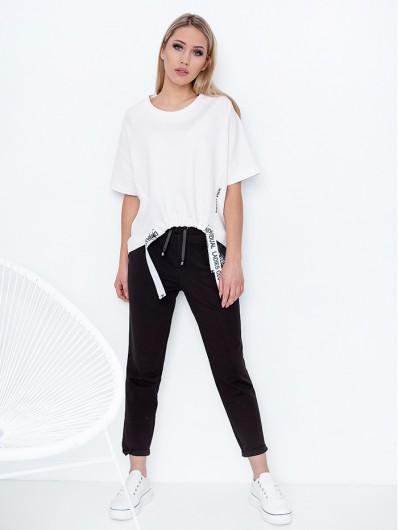 Modna, nowoczesna biała bawełniana bluza, stylowa, od polskiego producenta Bee Collection Jowisz