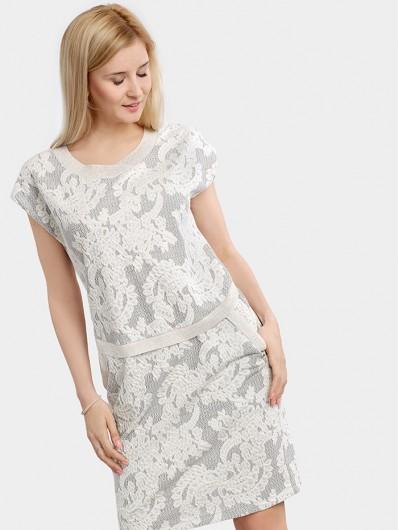 Wygodna, ołówkowa sukienka z żakardowej dzianiny Bee Collection