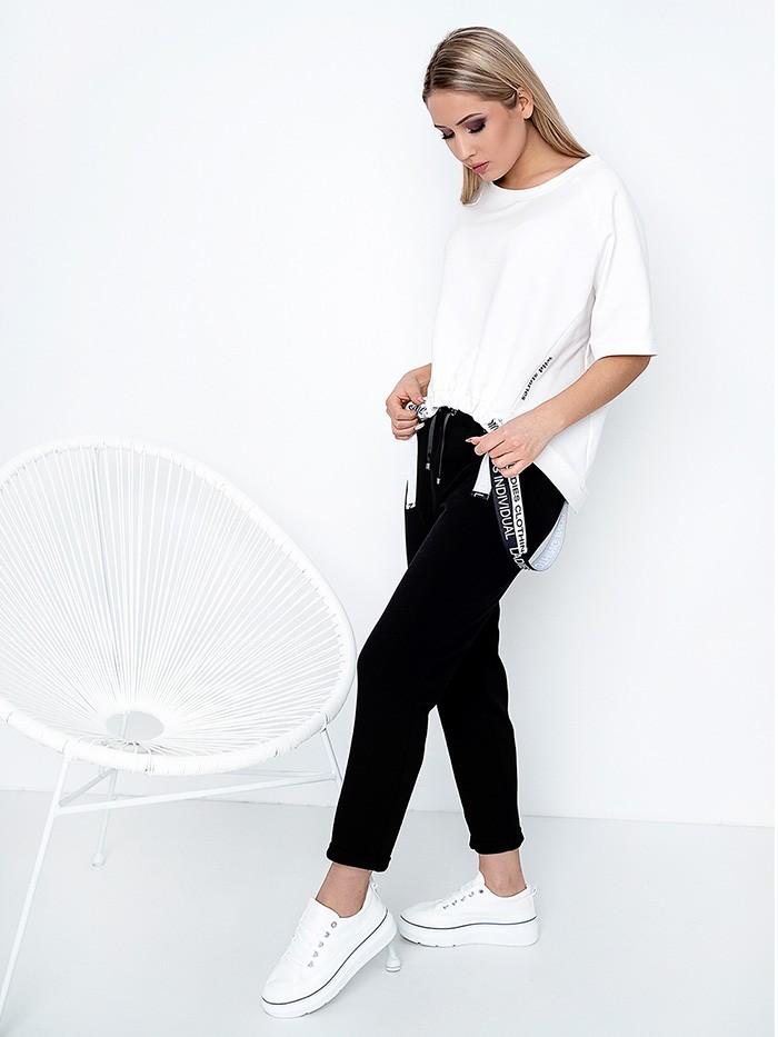 Czarne spodnie damskie z lekkiej dzianiny bawełnianej z kieszeniami Bee Collection Jowisz