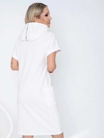 Biała, bawełniana sukienka wygodna midi z kapturem i rękawkiem Bee Collection Luxi
