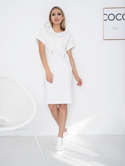 Ponadczasowa, sportowa , wielofunkcyjna biała sukienka codzienna, koktajlowa Bee Collection Luxi