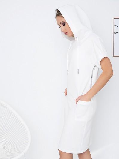 Nowoczesna, modna sukienka z dzianiny bawełnianej z kieszeniami, biała Bee Collection Luxi