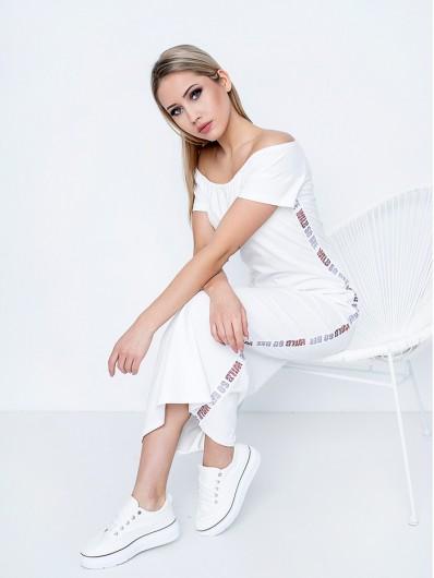 Biała sukienka casualowa maxi z hiszpańskim dekoltem i rękawkiem Bee Collection Oksana