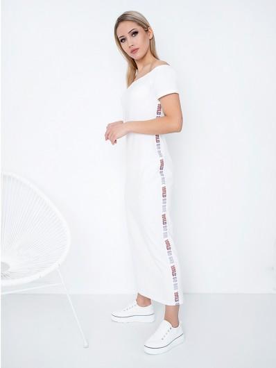 Minimalistyczna, prosta biała sukienka hiszpanka z rękawkiem i lampasem Bee Collection Oksana