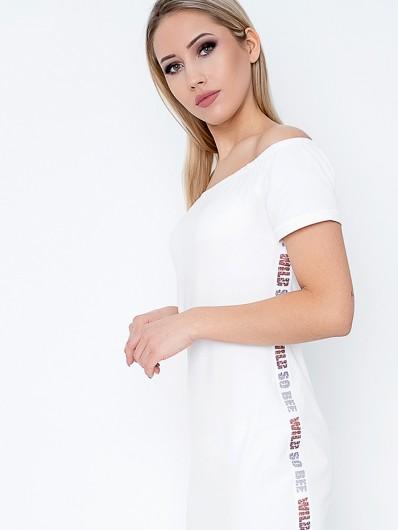 Nowoczesna długa sukienka hiszpanka z rękawem, taliowana, na wakacje i do pracy Bee Collection Oksana