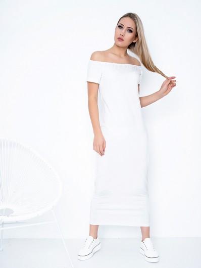 Nowoczesna, modna sukienka z dzianiny bawełnianej, letnia biała sukienka na wakacje Bee Collection Oksana