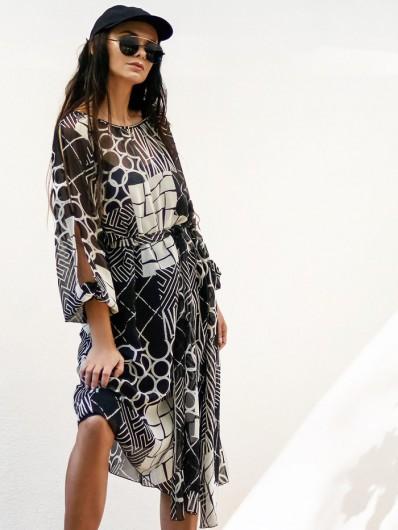 Asymetryczna, modna sukienka z rękawem, z szyfonu, koktajlowa, codzienna Bee Collection Czad